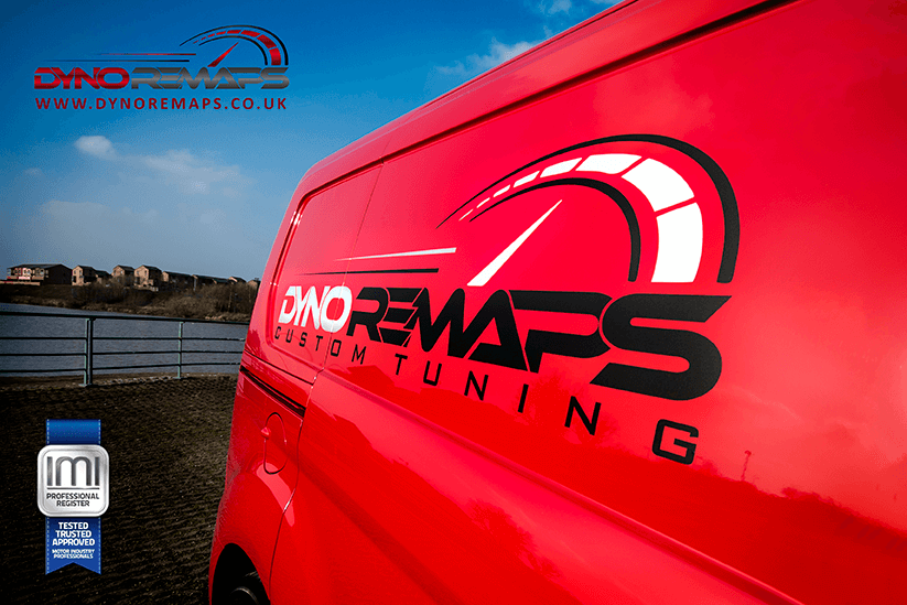 Dyno Remaps Logo on side of Red Van