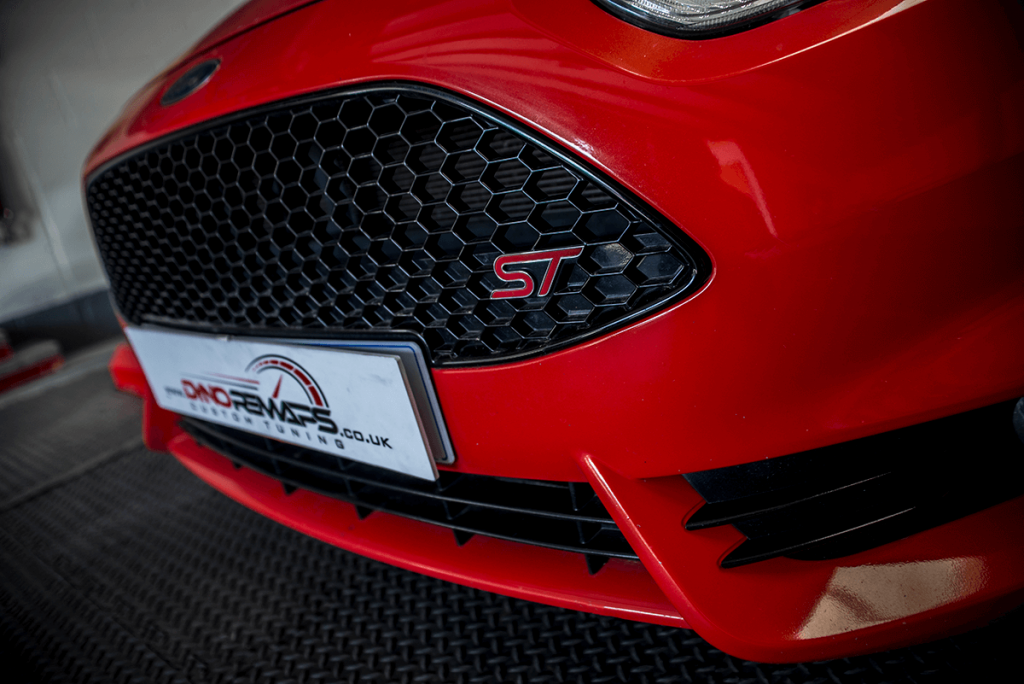 Red Fiesta ST Bumper with Dyno Remaps Logo
