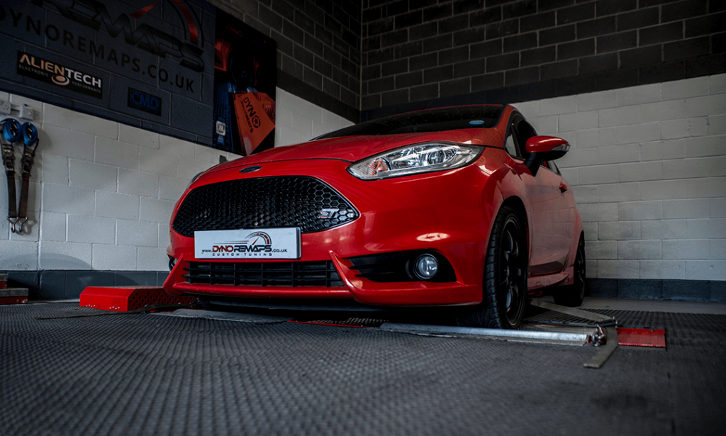 Red Fiesta ST Attached to Dyno