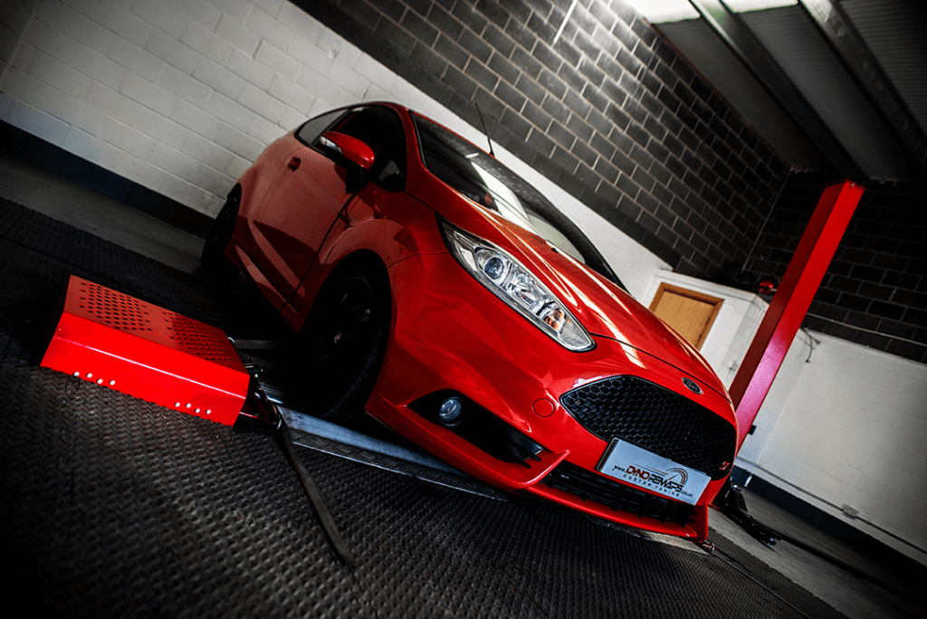 Red Fiesta ST on Angle at Dyno in Stockton Unit