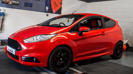 Red Fiesta ST on Dyno in Stockton Unit