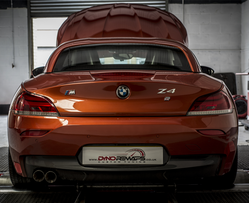Rear View of Z4 on Dyno with Bonnet lifted