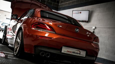 Orange BMW Z4 on Dyno